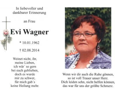Evi Wagner † 2. August 2014